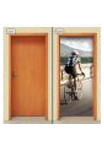 Adesivo Decorativo De Porta - Ciclista - Fitness - 1716Cnpt