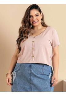 Blusa Plus Size Bege Com Botões Decorativos