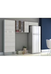 Cozinha Compacta Alfa 9 Portas Rovere/Dubai- Kits Paraná