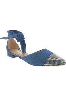 Sapatilha Gabriela Detalhe Amarração Jeans Azul Az