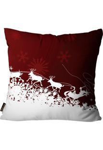 Capas Para Almofada Premium Cetim Mdecore Natal Papai Noel Vermelha 45X45Cm