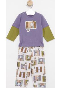 Pijama Body Cavado Manga Longa & Calã§A- Roxo & Verdesonhart
