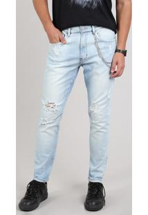 Calça Jeans Masculina Carrot Destroyed Com Corrente Azul Claro