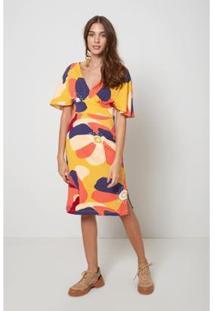 Vestido Midi Laço Est Island Flower Oh, Boy! Feminino - Feminino-Amarelo