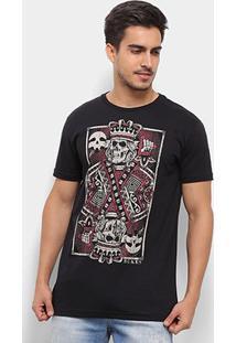 Camiseta Silk Rukes King Of Skull Masculina - Masculino-Preto