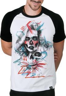 Camiseta Artseries Manga Curta Raglan Caveira Mexicana Com Rosto De Mulher Colorida