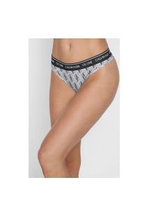 Calcinha Calvin Klein Underwear Fio Dental Logo Cinza