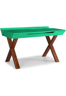 Escrivaninha Studio Cor Cacau Com Verde Anis