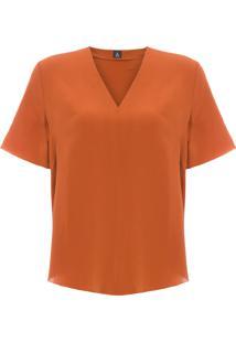 Blusa Feminina Decote V Silk - Marrom
