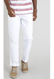 Calça Masculina Reta Em Piquet Branca