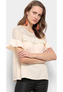 Blusa Ms Fashion Transparência Renda Feminina - Feminino-Bege