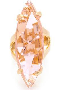 Anel Navete Kumbayá Semijoia Banho De Ouro 18K Cristal Rosa