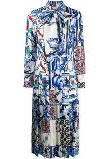 Tory Burch Vestido De Seda Com Estampa - Azul