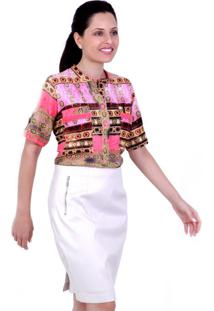 Camisa Polo Shopia Petite Vickttoria Vick Plus Size Rosa