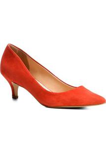 Scarpin Couro Shoestock Salto Médio Nobuck - Feminino-Vermelho Claro