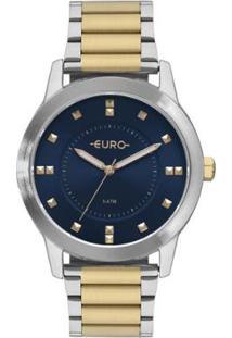 Relógio Euro Analógico Versátil Casual Feminino - Feminino-Prata+Dourado