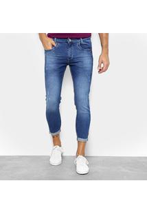 Calça Jeans Cropped Preston Barra Dobrada Masculina - Masculino-Azul