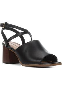 Sandália Couro Shoestock Salto Bloco Madeira Feminina - Feminino-Preto