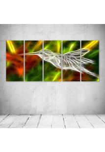 Quadro Decorativo - Hummingbird Neon - Composto De 5 Quadros