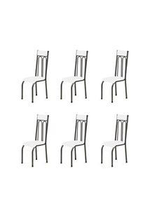 Kit 6 Cadeiras Anatômicas 0.120 Estofada Craqueado/Branco - Marcheli
