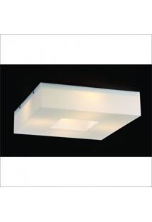 Plafon Sobrepor Quadrado Domenica Bella Italia Branco Com Espelho