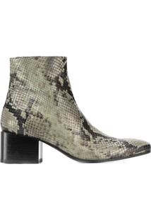 Acne Studios Ankle Boot Com Estampa De Cobra - Verde
