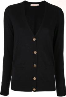 Tory Burch Cardigan Slim - Preto