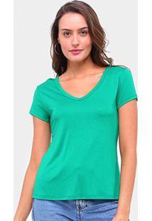 Camiseta Lecimar Gola V Manga Curta Feminina - Feminino-Verde
