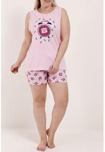 Pijama Curto Plus Size Feminino Rosa