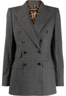 Dolce & Gabbana Checked Double-Breasted Blazer - Cinza