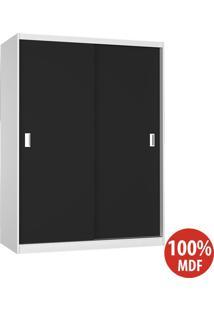 Guarda Roupa 2 Portas De Correr 100% Mdf 383 Branco/Preto - Foscarini