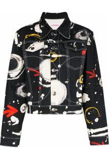 Charles Jeffrey Loverboy Jaqueta Jeans Com Estampa De Asteroide - Preto