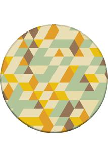 Tapete Love Decor Redondo Wevans Illusion Triângulos Amarelo 94Cm