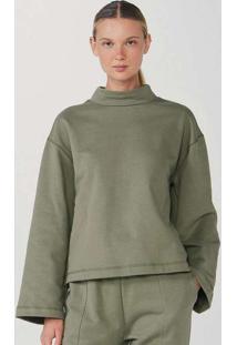 Blusão Feminino Em Moletom Sem Pelúcia Verde