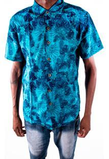 Camisa Outletdri Slim Manga Curta Florido Floral Azul Escuro