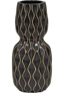 Vaso Decorativo De Cerã¢Mica Preto Com Desenhos Geomã©Tricos - Incolor - Dafiti