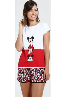 Pijama Feminino Short Doll Minnie E Mickey Disney