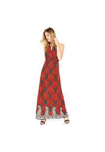 Vestido Balboa Longo Estampado Vermelho/Azul