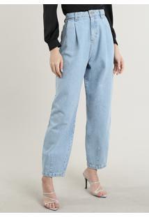Calça Jeans Feminina Mindset Carrot Com Pregas Azul Claro