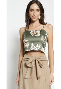 Blusa Cropped Floral Com Franzido - Verde & Amarela Mob