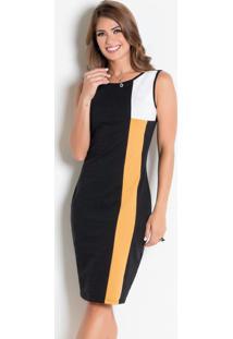 Vestido Tubinho Preto/Amarelo Moda Evangélica