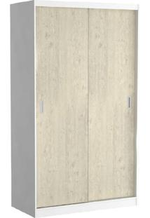Guarda-Roupa Solteiro 2 Portas De Correr 100% Mdf 797 Branco/Marfim Areia - Foscarini