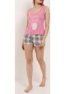 Pijama Curto Feminino Rosa/Bege