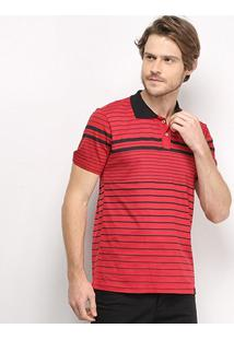 Camisa Polo All Free Listrada Masculina - Masculino-Vermelho