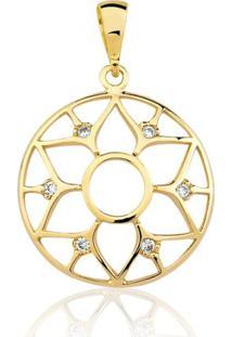 Pingente Toque De Joia Mandala Flor Dourado