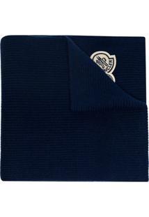 Moncler Cachecol Com Patch De Logo - Azul