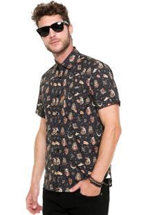 Camisa Triton Slim Preta/Bege
