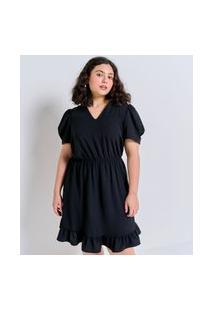 Vestido Em Crepe Com Mangas Bufante Curve E Plus Size Preto