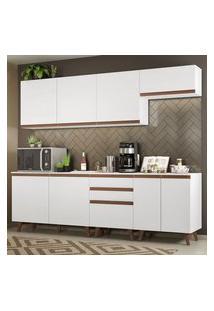 Cozinha Completa Madesa Reims 250001 Com Armário E Balcão Branco Cor:Branco