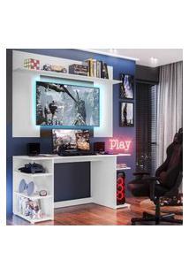 """Mesa Gamer Com Painel Tv 55"""" E Prateleira Guilda Plus Multimóveis Branco/Madeirado"""